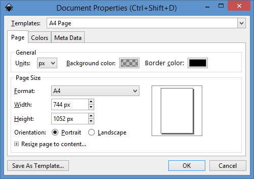 New Document Properties dialog Page tab.png
