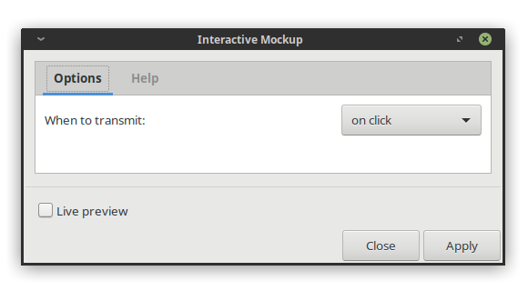 Dialog for the Interactive Mockup extension