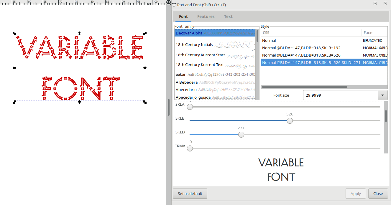 Variable font - dialog with sliders for the font styles