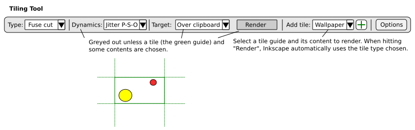 GUI proposal for the Render mode of the Tiling tool