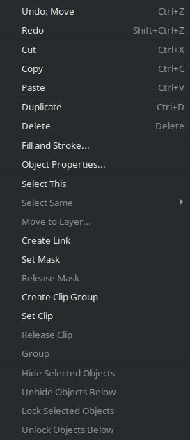 New options in context menu