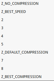 PNG compression options