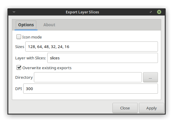 Dialog for new Export Layer Slices extension